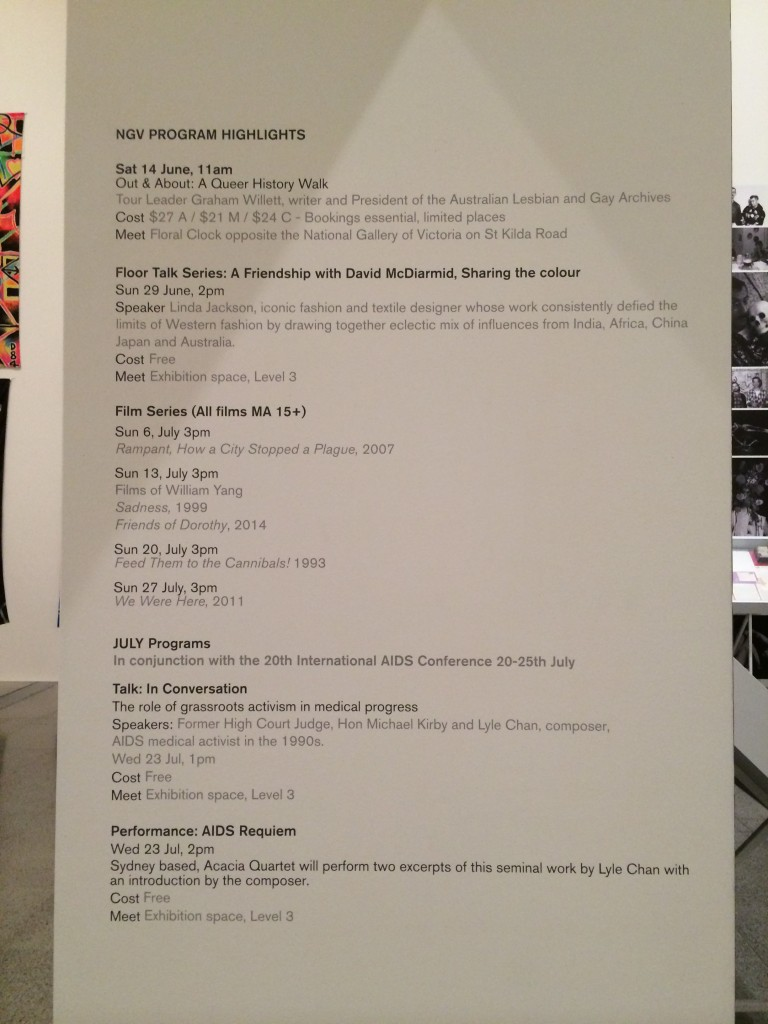 Signage for appearances by Michael Kirby, Lyle Chan and Acacia Quartet at National Gallery of Victoria