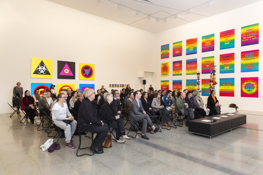 Audience during performance at David McDiarmid retrospective, National Gallery of Victoria, 23 July 2014