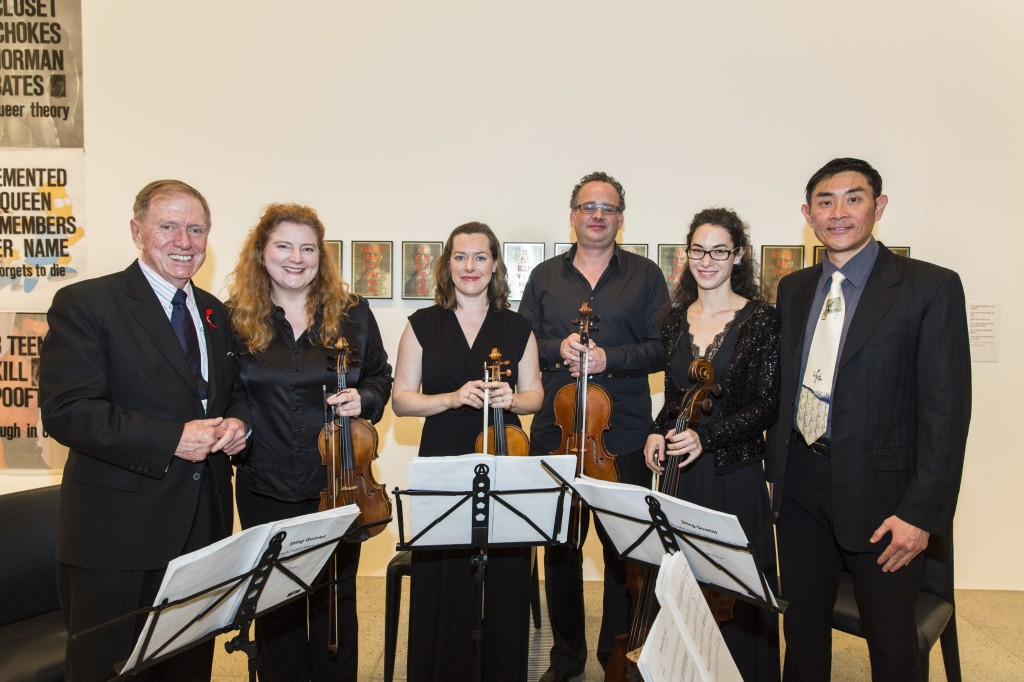 Michael Kirby, Acacia Quartet and Lyle Chan. At David McDiarmid retrospective, National Gallery of Victoria, National Gallery of Victoria, July 23, 2014